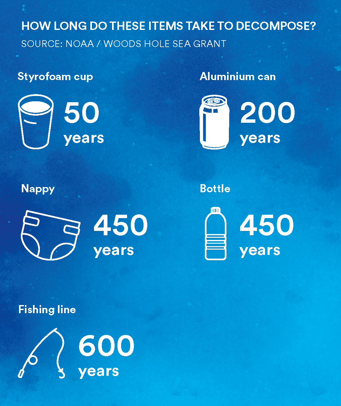 How long do these items take to decompose? Styrofoam cup - 50 years, nappy - 450 years